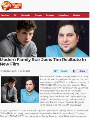 Modern Family's Nolan Gould To Star Opposite Tim Realbuto and Mavis